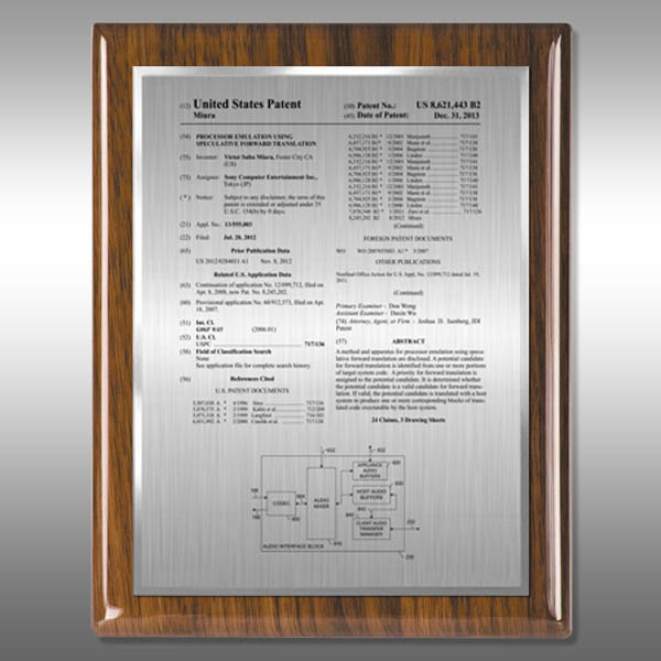 Patent Plaque - Walnut  Piano HW-EZ13